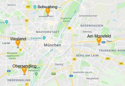 München Westend, Obersendling, Schwabing und Am Moosfeld